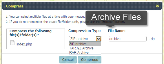 Archive files with the file manager
