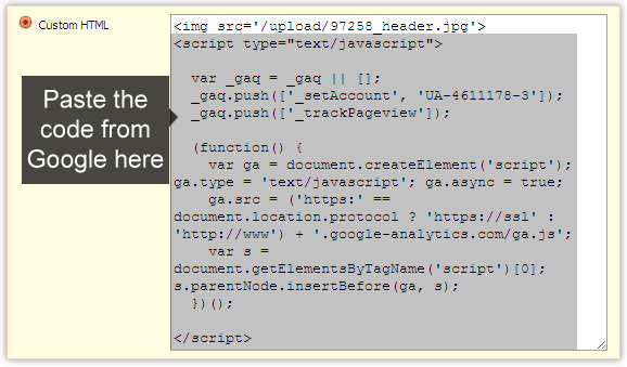 Insert Google Analytics code in free reseller hosting template