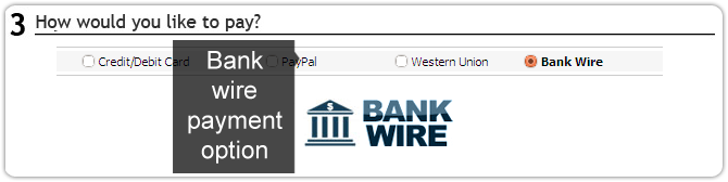 Bank wire payment option available