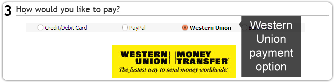 Western Union payment option available