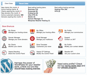 Updated Reseller Control Panel home page