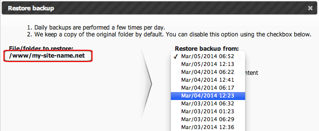 Daily data backups in Control Panel - restore backup