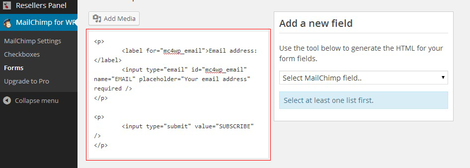 MailChimp - signup form code