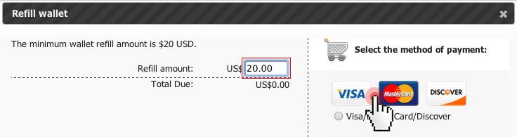 Domain backorder - refill wallet