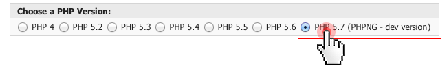 PHP NG option in the Control Panel