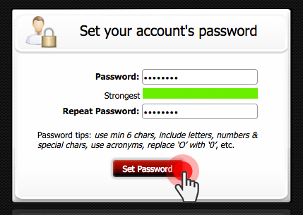 Password setup interface - login page