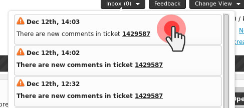 Ticketing System updates - inbox alerts