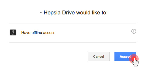 Google Drive Backup Hepsia -  Accept Application