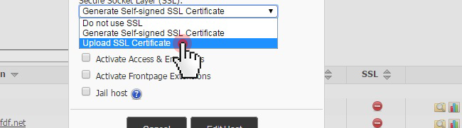 Upload an SSL certificate
