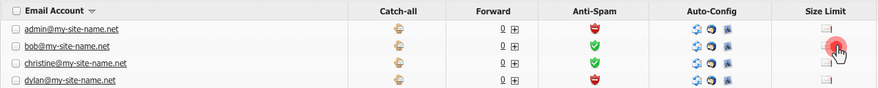 Mail quota column in the Email Manager