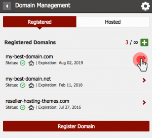 Registered domains - edit domain settings
