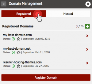 Registered domains tab