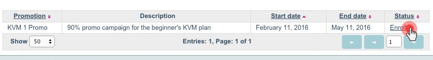 KVM VPS - enroll in promotion
