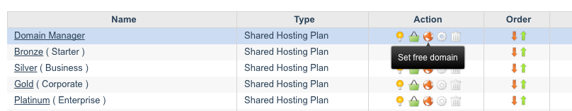 Set free domain with a hosting plan - reseller control panel
