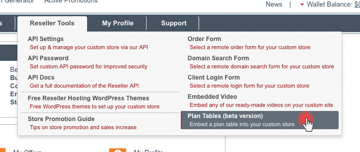 Plan table - Reseller Control Panel
