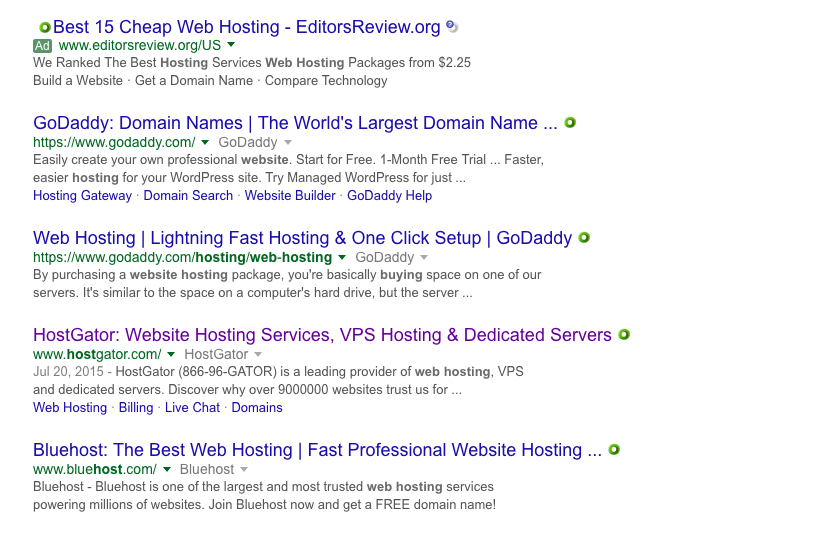 Start a web hosting business - explore search results