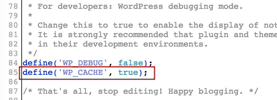 Set up Memcached on WordPress - wp-config file
