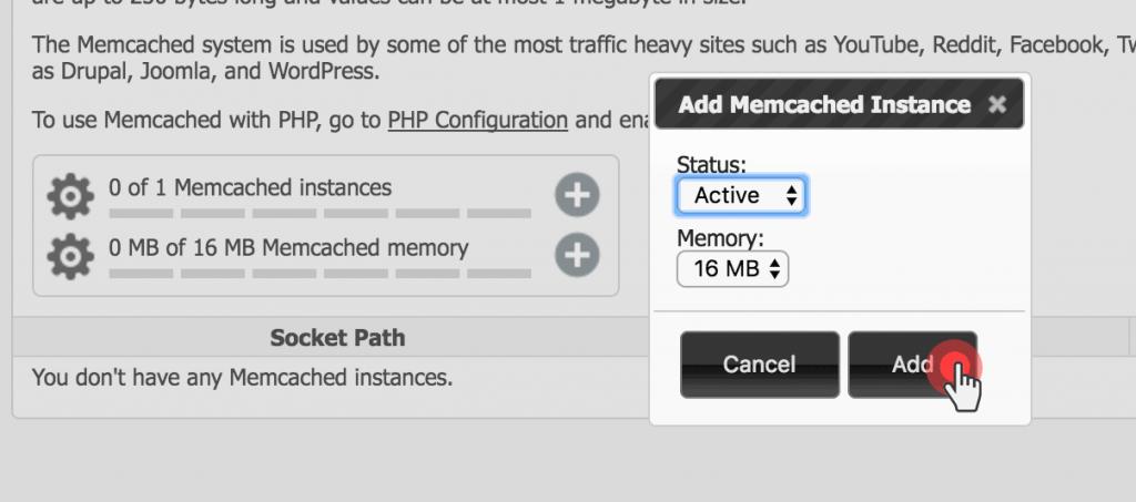 Set up Memcached on WordPress - create instance
