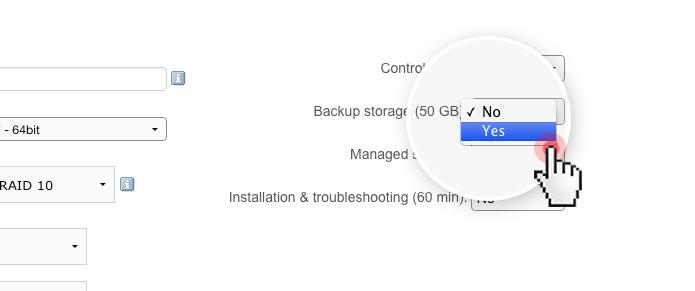 Dedicated servers backup space - order