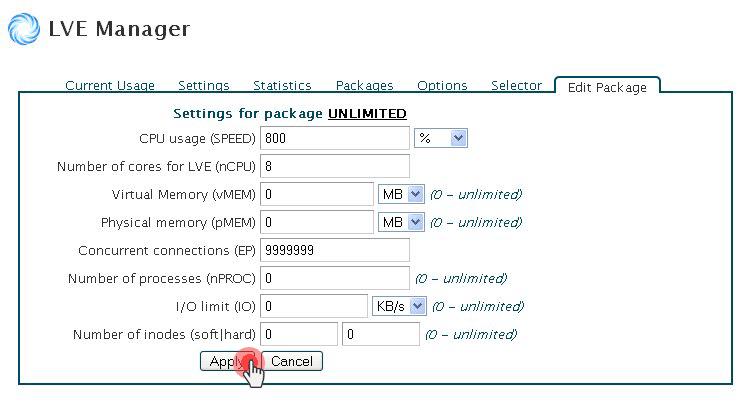 CloudLinux LVE Manager limits