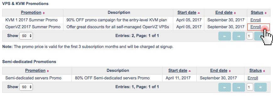 Summer server hosting - promotions - enroll