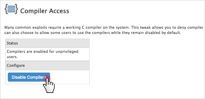 Unmanaged VPS security checklist - disable compilers