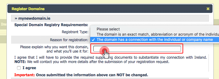 .IE domain registration claim