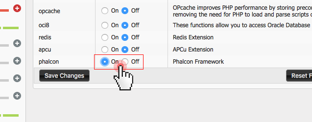 Enable Phalcon hosting from Control Panel