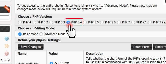 Suhosin PHP security extension - select PHP version