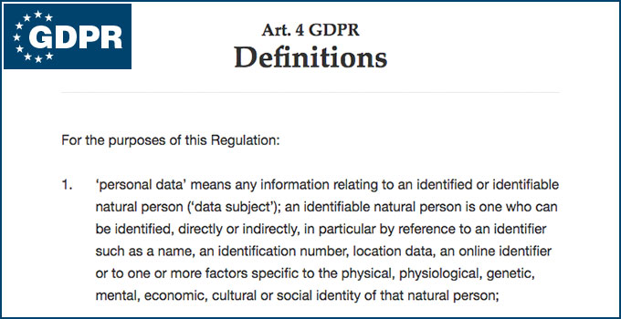 GDPR personal data - definition
