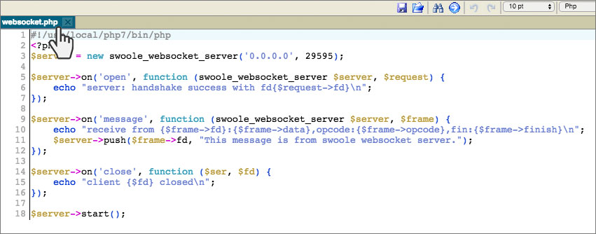Swoole network framework - websocket server example