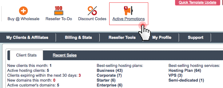 new TLDs active promotions in Control Panel