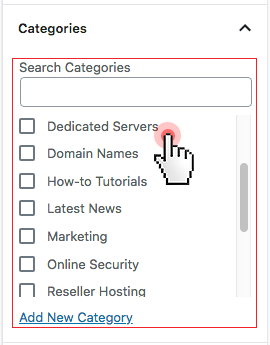select categories wordpress