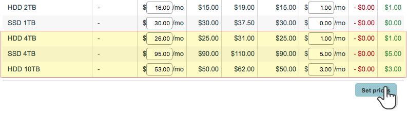 New storage quota options for dedicated servers - set prices in Control Panel