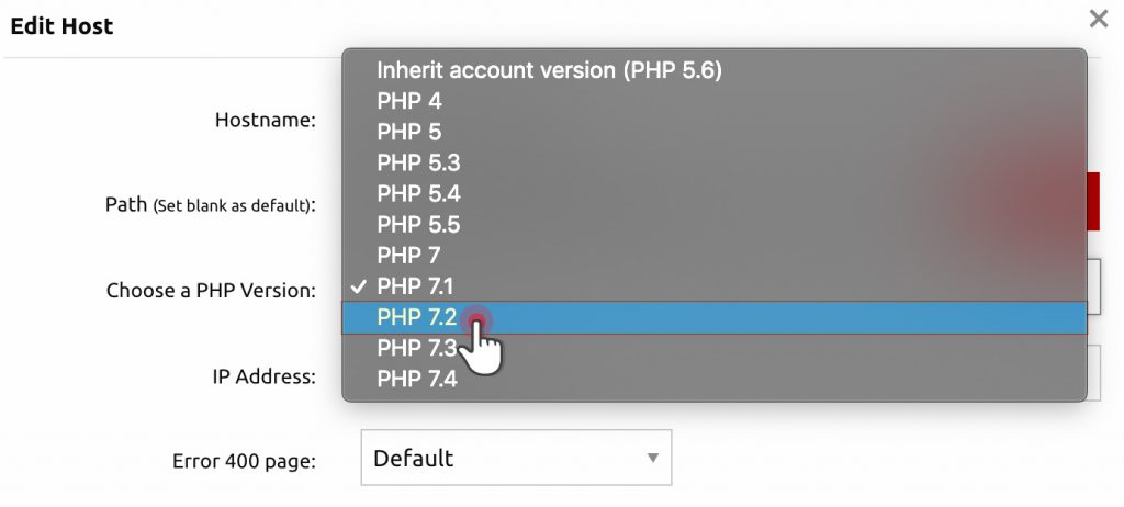 set php version in control panel drop down list