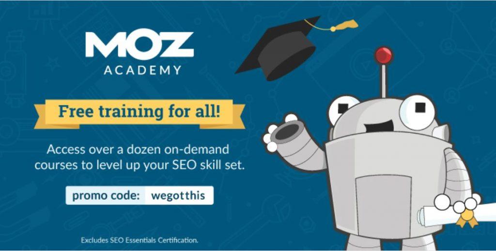 quarantine free courses Moz Academy