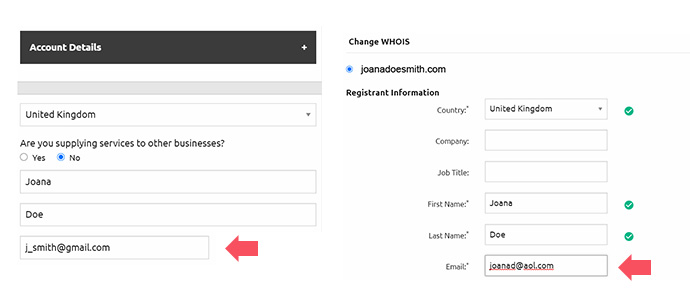 use different email for domain account and whois icann guidelines